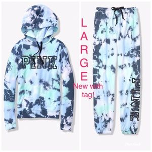 Large VS Pink Tie Dye Pullover Hoodie Jogger NWT